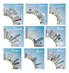 Set of 9 city skyline with copy space vector