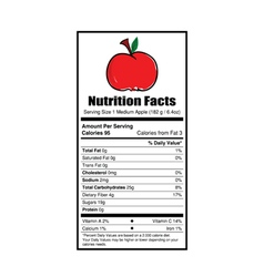 nutrition facts apple vector image