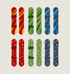 A set of mens and womens snowboard vector