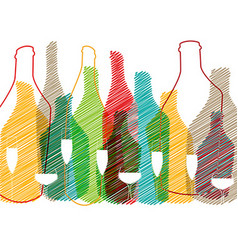 Alcohol bottles and glasses vector