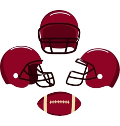 American football helmets and ball vector image