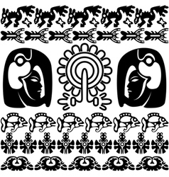 Ancient America set with patterns small vector image vector image