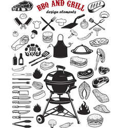 Big set of bbq and grill design elements kitchen vector