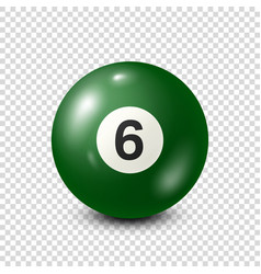 Billiardgreen pool ball with number 6snooker vector