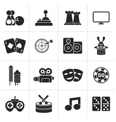 Black entertainment objects icons vector image vector image