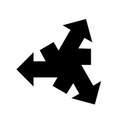 Black three arrows out center icon vector