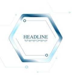 Blue tech hexagon on white background vector