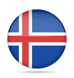 Button with flag of iceland vector