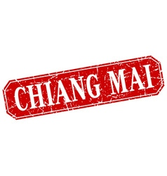Chiang mai red square grunge retro style sign vector image vector image