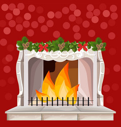 classic fireplace chimney christmas holidays card vector image vector image
