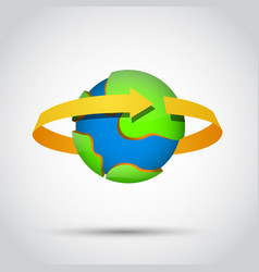 Earth planet with gold arrow around vector