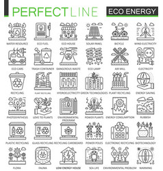 Eco energy outline mini concept symbols renewable vector