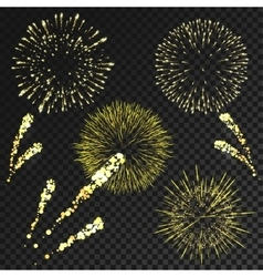 Fireworks set in various shapes isolated on vector