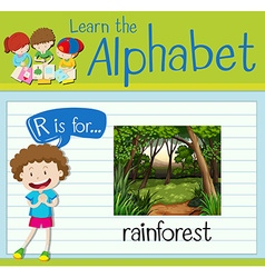 Flashcard letter R is for rainforest vector image vector image