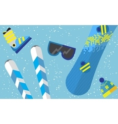 Flat design winter sport concept sports equipment vector