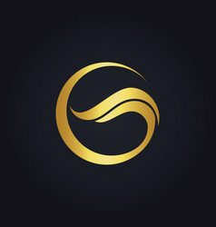Gold abstract round wave business logo vector