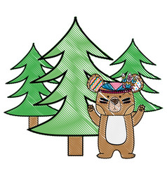 Grated ethnic bear animal with pine trees vector