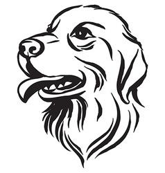 Hand drawn portrait of dog labrador Black and vector image