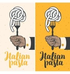 Italian pasta on fork vector image
