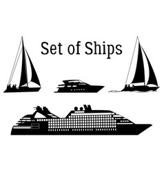 marine vehicles silhouettes vector image