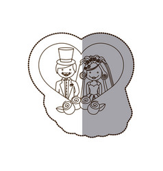 married couple inside the heart with roses vector image