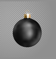 matted black christmas ball tree decoration 3d vector image vector image