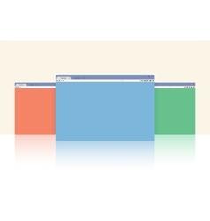 Multi colored internet browser windows vector image