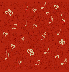 Musical notes and hearts on red grunge background vector