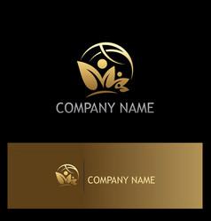 Organic nature people world gold logo vector