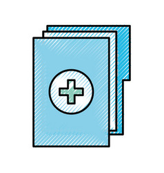 Scribble medical history folder vector