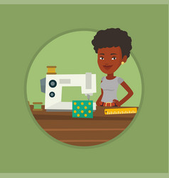 seamstress using sewing machine at workshop vector image vector image