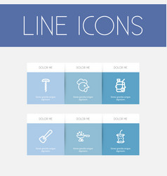 Set of 6 editable food outline icons includes vector