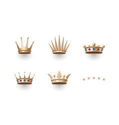 Set of royal gold crown and five stars icons vector
