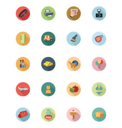 Shopping Flat Colored Icons 3 vector image
