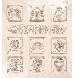 steampunk icons vector image