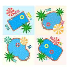 swimming pool set vector image