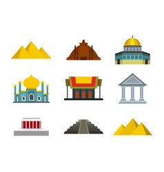temple icon set flat style vector image vector image