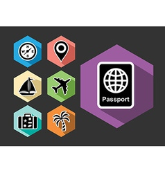 Travel and tourism flat icons set vector image