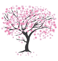 Tree in the wind cherry vector