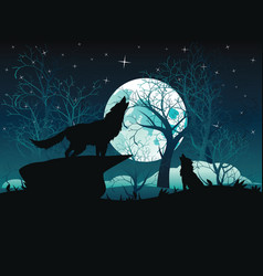wolf howling in the night forest vector image vector image
