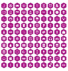 100 app icons hexagon violet vector