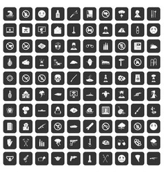 100 tension icons set black vector