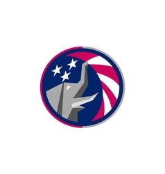 Republican elephant mascot usa flag circle retro vector
