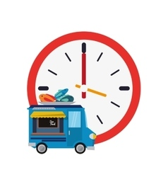 Wall clock and seafood truck icon vector