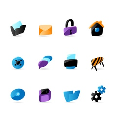 Bright website and interface icons vector
