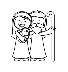 Holy family manger character vector