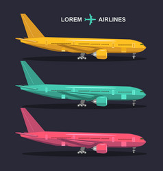 Airplanes set aviation in vector