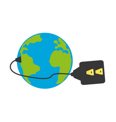 isolated earth electric plug vector image