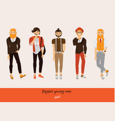 Set of male hipsters with smiling faces in vector