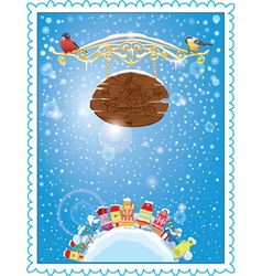 Christmas and New Year holidays card vector image